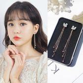 耳環 耳環女氣質韓國個性百搭長款流蘇白色天鵝閃?耳墜耳飾品純銀耳釘