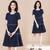 【A5046】皺褶A版型短連身裙 L-5XL