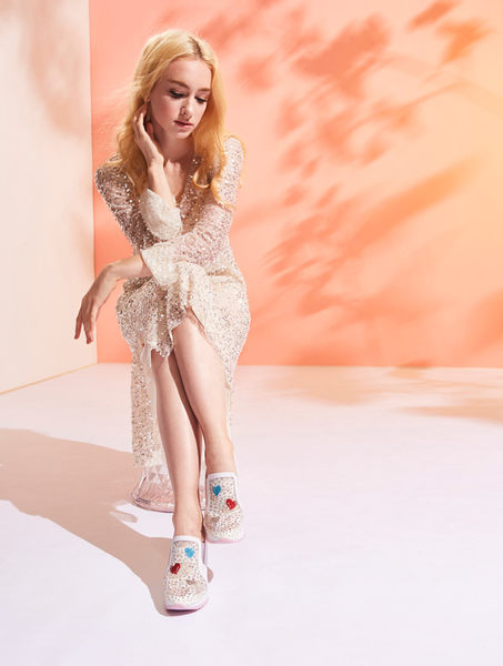 ★2019春夏★Keeley Ann墊起腳尖愛 網面電繡愛心內增高休閒鞋(白色)-Ann系列