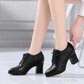 莫蘭百麗鞋子女秋高跟單鞋女粗跟百搭尖頭小皮鞋女鞋『小宅妮時尚』