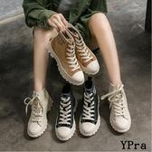 【YPRA】帆布馬丁靴女百搭網紅瘦瘦靴短靴子
