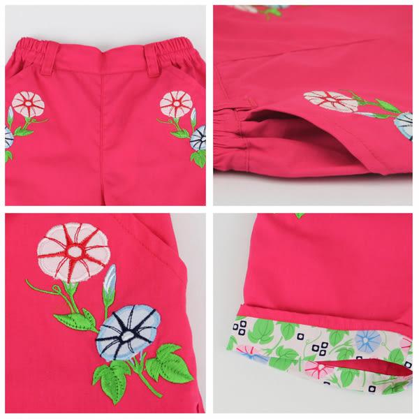 【愛的世界】純棉鬆緊帶五分褲-紅/10~12歲-台灣製- ★春夏下著