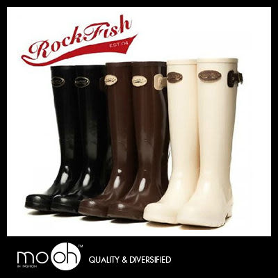 (24hr出貨) 韓國rockfish 正品 糖果色防水雨鞋 / 金屬標高質感 長筒短筒 雨靴 mo.oh