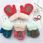 寶寶手套冬1-3歲兒男女童加絨加厚毛線可愛圣誕樹兒童連指手套 晴天時尚館