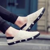 夏季款亞麻布帆布鞋男韓版潮流休閒鞋男一腳蹬懶人鞋透氣布鞋男士 簡而美