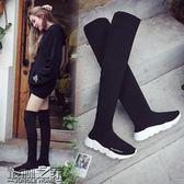 襪子鞋女2018秋冬季新款長筒坡跟過膝靴女長靴女鞋運動彈力靴