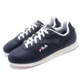FILA 復古慢跑鞋 J903S 藍 白 深藍 鞋面皮革 阿甘鞋 復古 小LOGO 男鞋【PUMP306】 1J903S331