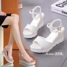 波西米亞涼鞋女學生夏新款百搭舒適厚底楔形女鞋厚底鬆糕鞋平底鞋