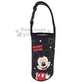 〔小禮堂〕迪士尼米奇潛水布水壺袋《黑撐腰》飲料杯袋手搖杯套環保杯袋4713218 19200