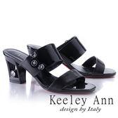 ★2018春夏★Keeley Ann漆皮質感~俐落個性金屬飾釦真皮粗跟拖鞋(黑色)-Ann系列