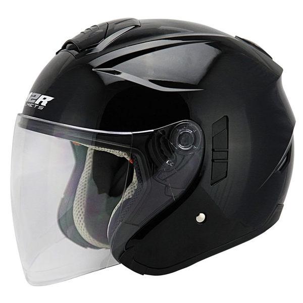 M2R FR-1 FR1 雙層鏡片 遮陽鏡片 內襯全可拆洗 四分之三 半罩式 半罩 安全帽 素色 珍珠黑 黑色