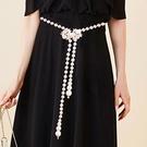腰鏈 腰封 裝飾腰帶女配裙子時尚百搭連身裙 珍珠小香風配飾白色加長收腰  店慶降價