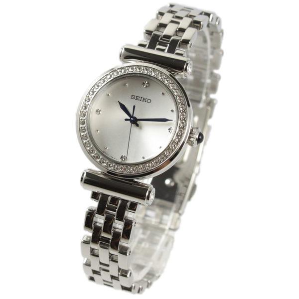 [萬年鐘錶] SEIKO  簡單素面 施華洛世奇水晶 不鏽鋼手錶 銀色 28mm  SRZ465P1(7N01-0HY0S)