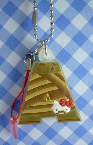 【震撼精品百貨】Hello Kitty 凱蒂貓~KITTY手機提帶-軟膠字母吊飾-咖啡A