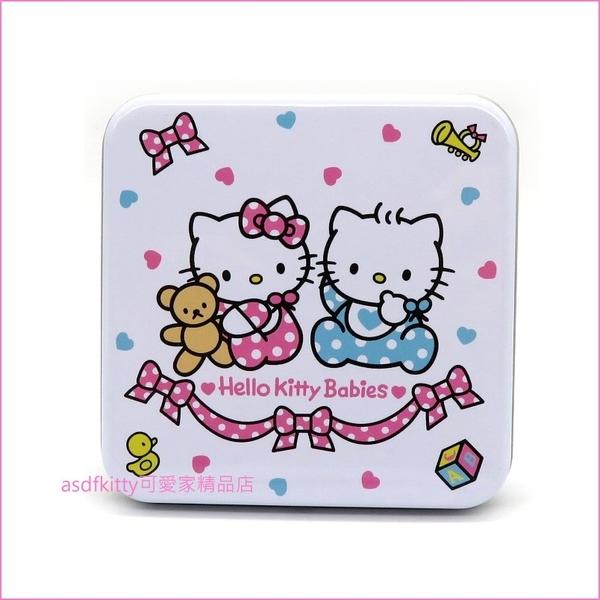 asdfkitty可愛家☆KITTY丹尼爾寶寶45週年紀念方型收納鐵盒/置物盒/禮物盒-日本正版商品