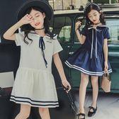 童裝女童洋裝2018夏季新款短袖裙子繫帶中大兒童校服學院風 年貨必備 免運直出