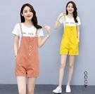 薄款牛仔闊腿背帶褲女夏季2020新款韓版顯瘦彩色水洗連體吊帶短褲套裝 OO10081『黑色妹妹』