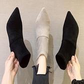 短靴 網紅瘦瘦時裝靴2021秋季新款馬丁靴女短靴尖頭細跟高跟鞋百搭女鞋 霓裳細軟
