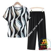 兩件式褲裝 中老年夏裝套裝媽媽裝短袖衣服奶奶上衣中年寬鬆T恤老年人兩件套【樂淘淘】