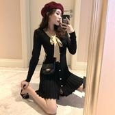 長袖洋裝 韓版chic風性感V領系帶蝴蝶結收腰A字百褶裙純色修身長袖洋裝