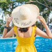 拉菲草沙灘帽子女夏海邊防曬太陽帽 大沿遮陽帽出游度假大帽檐草帽