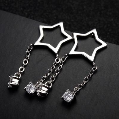 耳環 925純銀-精緻星星生日情人節禮物女耳針2色73gt232【時尚巴黎】