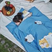 柴柴雲朵飄飄兒童睡袋-男孩藍