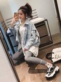 外套女2020新款秋韓版設計感牛仔長袖拼接白色襯衫寬鬆馬甲兩件套