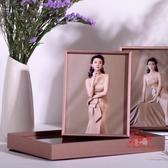 金屬相框 婚紗照相框擺台定製結婚照片金屬桌擺鋁合金窄邊8 1012寸金色擺件 5色
