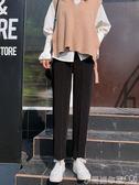 西裝褲女直筒寬鬆高腰垂感黑色工裝闊腿休閒褲子2019新款春秋女褲 衣間迷你屋