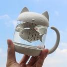 貓爪杯卡通過濾杯 可愛貓咪玻璃杯ins風抖音網紅水杯超萌女泡茶杯 交換禮物