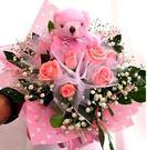 (YU-53)新北市永和情意花坊情人節花束全台配送~11朵粉玫瑰加贈可愛小熊一隻~