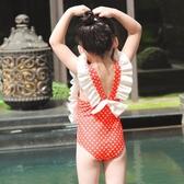 中小童女童泳裝兒童泳衣可愛連體游裙式泳裝【步行者戶外生活館】