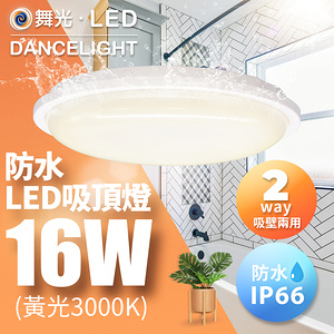 舞光 LED 防水膠囊吸頂燈 2-3坪 16W IP66黃光(暖白)3000K
