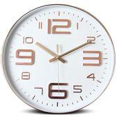 鐘表掛鐘客廳現代簡約石英掛鐘辦公創意個性靜音圓形家用電子時鐘【萌森家居】