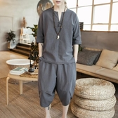 夏季亞麻套裝男國風棉麻V領短袖t恤男裝大碼寬鬆 七分褲兩件套潮
