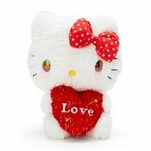 〔小禮堂〕Hello Kitty 絨毛玩偶娃娃《S.紅白.抱愛心》擺飾.玩具 4548643-13928