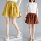 棉麻短褲女夏2020新款韓版大碼胖MM寬松純色百搭顯瘦A字闊腿褲裙