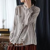《貓尾巴》DY-01283 文藝斜襟花邊豎條紋長袖上衣(森林系 日系 棉麻 文青 清新)