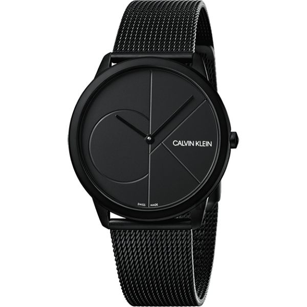 Calvin Klein CK Minimal 經典大LOGO手錶-黑/40mm K3M514B1