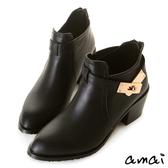amai皮帶金鎖拉鍊粗跟踝靴 黑