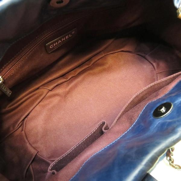 CHANEL 香奈兒 藍色菱格紋羊皮手提肩背鍊條包 【二手名牌BRAND OFF】