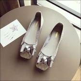 方頭立體蝴蝶結簍空透氣蕾絲平底鞋娃娃鞋女鞋包鞋灰色(35-41大尺碼)現貨