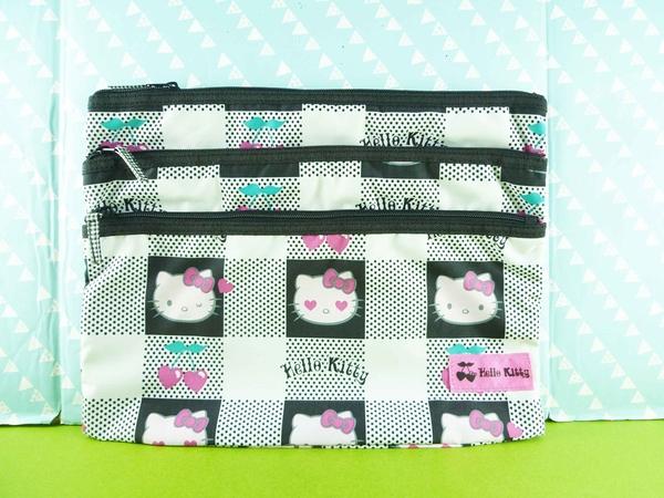 【震撼精品百貨】Hello Kitty 凱蒂貓~三層拉鍊袋~黑【共1款】