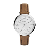 FOSSIL質感時尚羅馬銀色腕錶/咖皮ES3708