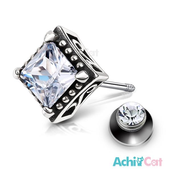 AchiCat 925純銀栓扣後鎖式耳環抗過敏復古方形兩面皆可戴(白鋯大墜)GS7055