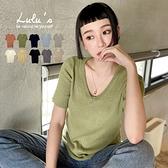 LULUS【A01210136】YV領針織上衣10色