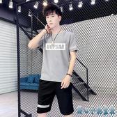 夏季新款大碼街頭嘻哈港風bf休閒運動套裝男短袖T恤帥氣短褲兩件式褲裝LXY3111 甜心小妮童裝
