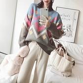 毛衣-兔毛幾何撞色圓領時尚女針織衫2色73uc20【巴黎精品】