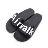 AIR WALK 黑 大LOGO 軟底 防水 拖鞋 男女 A825220-320【Speedkobe】